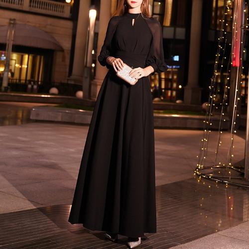 シースルーボリューム袖 ロングドレス