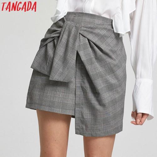 グレンチェック柄リボンスカート