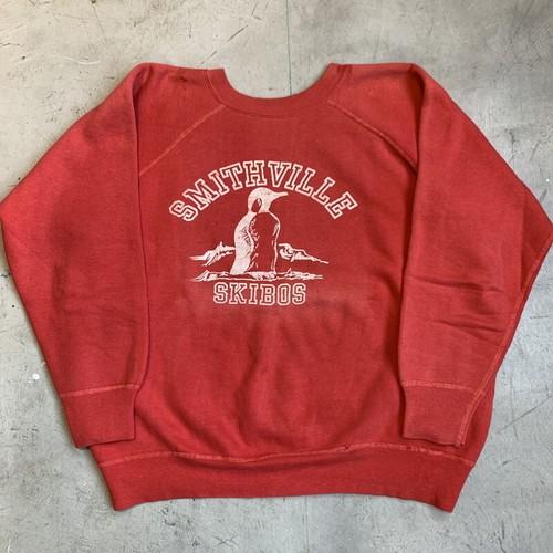 50's 60's UNKOWN ラグランスウェットシャツ SMITHVILLE SKIBOS フロッキープリント ペンギン レッド 赤 フェード L位 希少 ヴィンテージ BA-1243 RM1612H