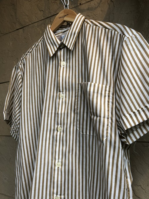 Deadstock British gold/white stripe pattern S/S shirts