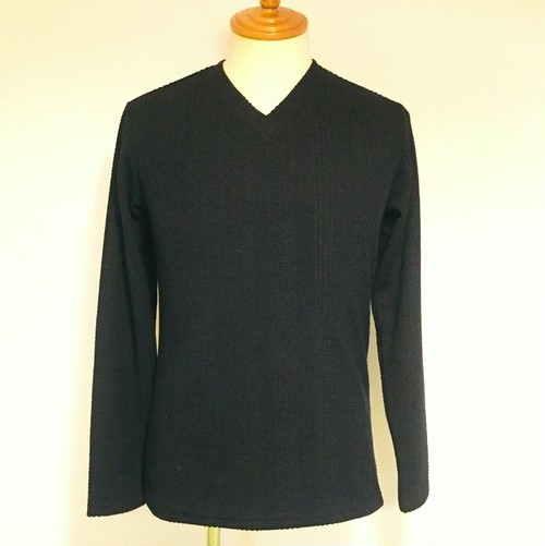 Narrow Cable JQ V-neck L/S Tee DrakNavy