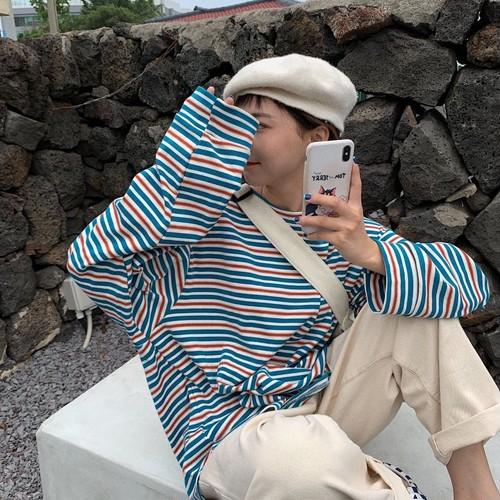 レトロ カレッジ風 ファンアート 清新 ボーダー柄 着やせ ラウンドネック 長袖 Tシャツ トップス