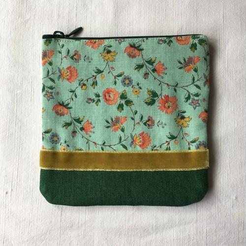 Flat pouch green フラットポーチs