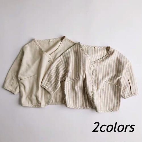 ノーカラーシャツ【T110】