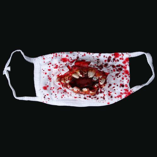 【2枚セット】少し怖い、マウスの牙が飛び出したコスプレ用マスク。マスクだけでハロウィンOK