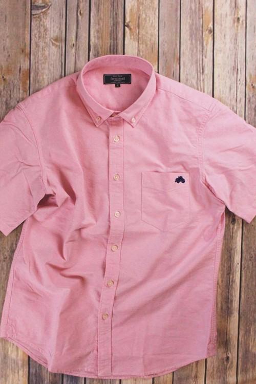 トラクター刺繍入り 半袖ボタンダウンシャツ ピンク
