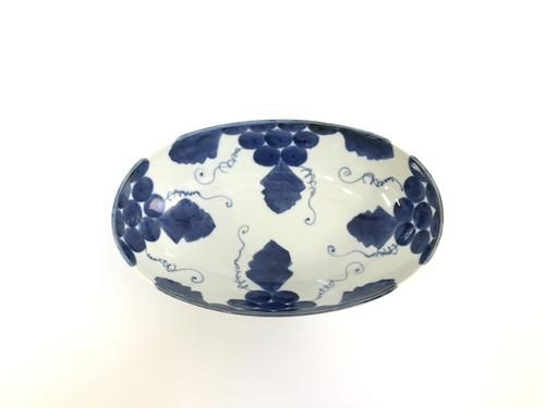古染ぶどう 八寸楕円鉢