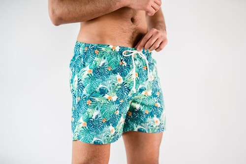 【7/1(wed)21:00販売開始】ThreeArrows Print Board Shorts(tropical green)
