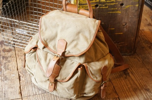 80's Banana Republic leather × cotton twill safari Backpack