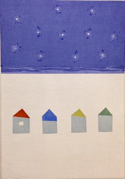 山中現「星の輝く頃」Yamanaka Gen/woodblock print/sheet