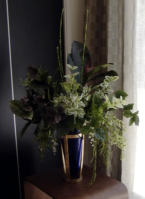 造花グリーンアレンジメント ガラス花器つき