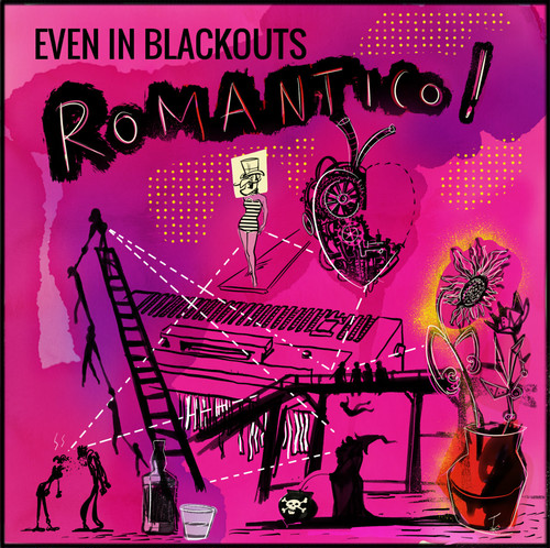 """even in blackouts / ROMANTICO! 12"""" YELLOW & PINK MARBLED vinyl"""