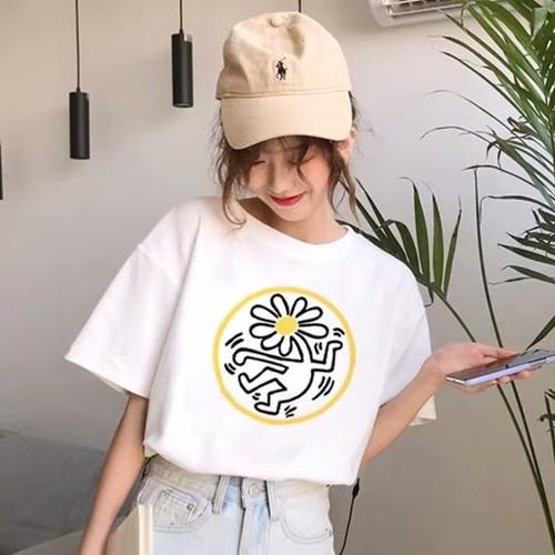 【トップス】夏シンプル清新スウィートプリントコットンストレッチ学園風Tシャツ