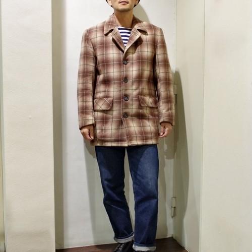 "1950-60s Wool Car Coat ""Shadow Check"" / ヴィンテージ ウール カーコート / オンブレ チェック"