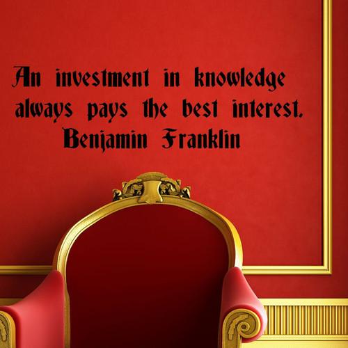 ベンジャミン・フランクリンのウォールステッカー おすすめ おしゃれ モノトーン 名言 知識に対する投資