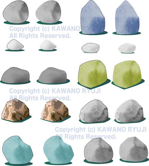 テクスチャーのついた岩石のイラスト集_ai(ベクターデータ)