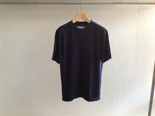 "UNIVERSAL PRODUCTS.""PIQUE CREW NECK POCKET TEE NAVY"""