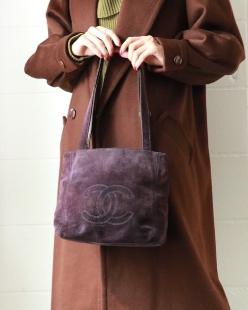 CHANEL plum brown suede tote