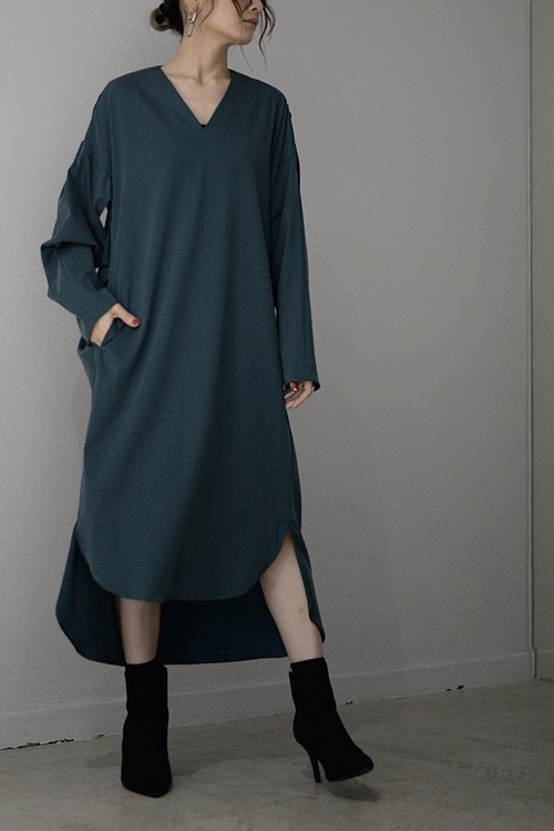 ROOM211 unique / tuck gather onepiece (bluegreen)