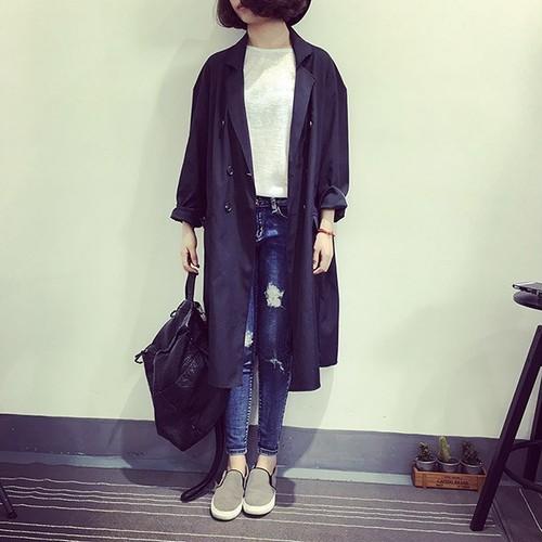 「アウター」長袖無地ファッションロング折り襟ゆったりカジュアル2色トレンチコート