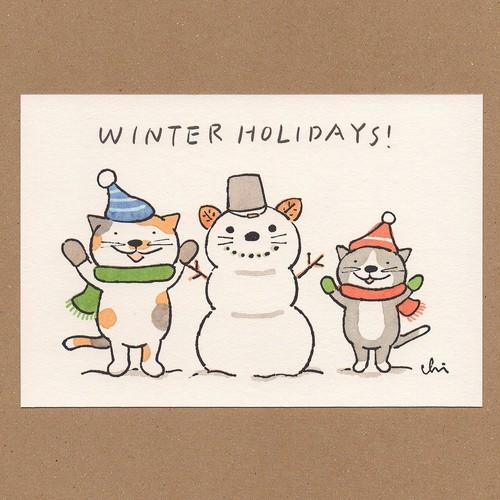 冬のポストカード[NWPC-28]雪だるま