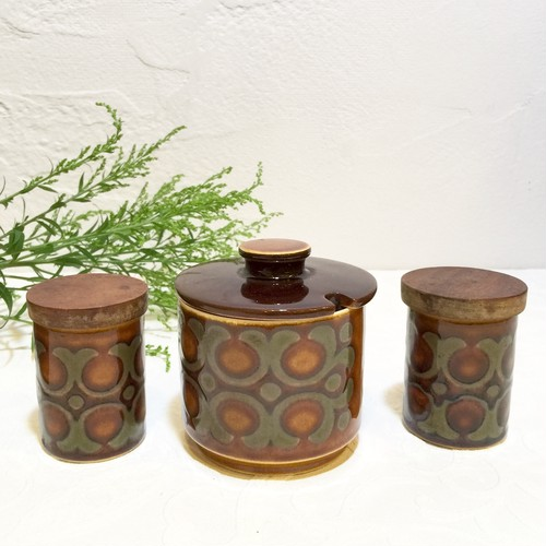 "70's Vinage Signed ""HORNSEA [ホーンジー]"" ""BRONTE"" Sugar Bowl & Mini Bottles with Lid Set [CCV-20]"