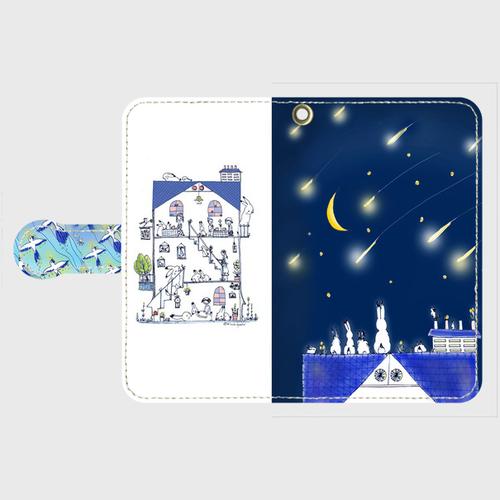 Android Sサイズ 星の花降る夜に 手帳型スマホケース
