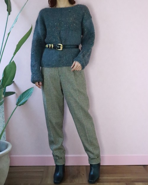 gray houndstooth checked pants