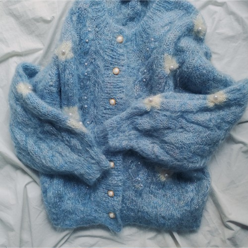 Light blue knit cardigan