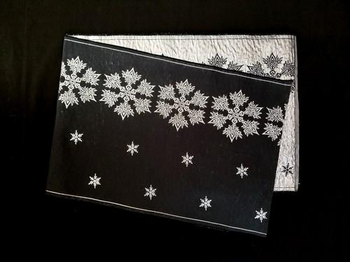 リバーシブル織兵児帯 雪の結晶 (crystal of snow) 黒×シルバー