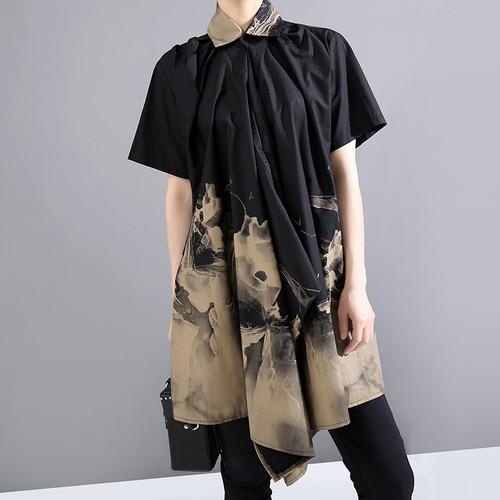 アシンメトリー ロングシャツ ブラウス ウエストストラップ 半袖 韓国ファッション レディース 不規則デザイン シャツ トップス 大きいサイズ 大人カジュアル 大人可愛い
