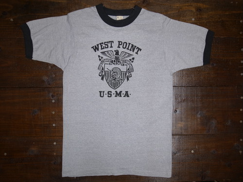 80's SCREEN STARS USMA WEST POINT リンガー T-Shirts DEAD STOCK(グレー×黒トリム)