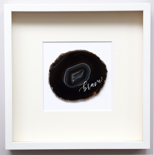 Wall letter◇brave black / Wall decor/calligraphy agate slice/handwritten/ウォールデコ カリグラフィー アゲートスライス