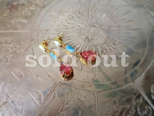 vintage pierced earrings <PE-GL1>