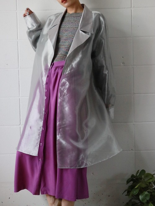 80's silver see through coat