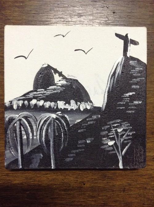 リオのアクリル画「パォン・ヂ・アスーカル」