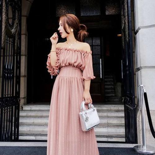 c[V37]【綺麗め&セクシー】 オフショルダー パフスリーブ ロング ドレス ワンピース