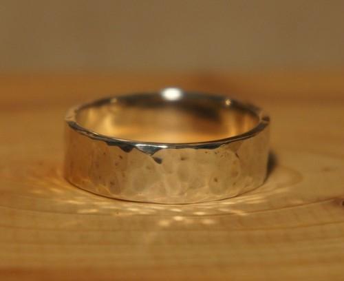 hammer finish silver ring