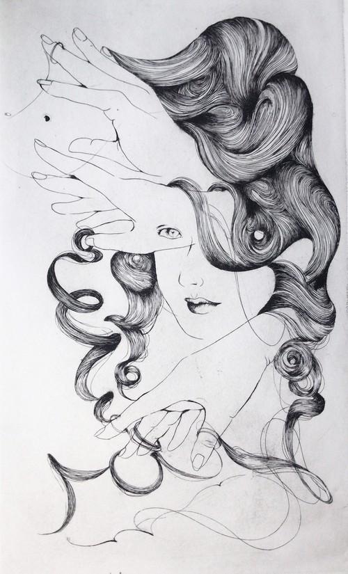 小林小百合 銅版画 Portrait de Mme.Anonyme