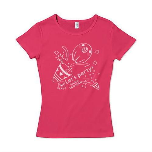 キャラT560 たこさんwinなー 白たこさんパーティ_D* レディースタイプ6.2オンス CVC フライス Tシャツ