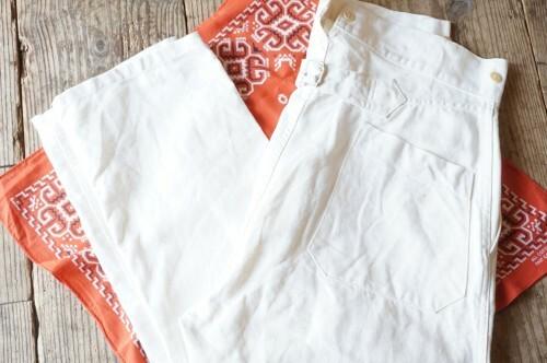 ANATOMICA white linen × cotton fisherman Pants
