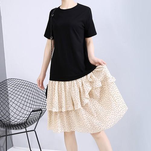 ドッキングワンピース Tシャツ ドット柄 スカート 韓国ファッション レディース フェイクレイヤード ワンピース ゆったりウエスト ロング 大人可愛い 大人カジュアル