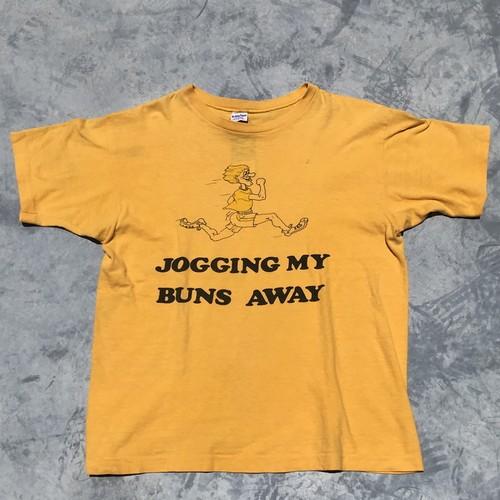 70's 80's Champion チャンピオン Tシャツ 染み込み バータグ JOGGING MY BUNS AWAY イエロー L 希少 ヴィンテージ