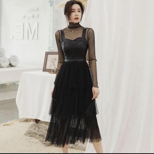 シースルー セクシー ドレス ワンピース ブラック ビスチェ チュールスカート ロング レディース(A1097)