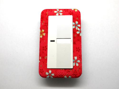 赤色桜小柄 ワイド1連用スイッチプレート
