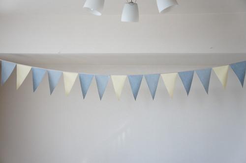 布ガーランド フラッグ 旗 結婚式 パーティー キャンプ 店舗装飾 飾り デニム淡レモン