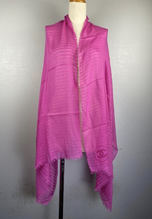 .CHANEL COCO MARC CASHMERE SILK LARGE SIZE SHAWL MADE IN ITALY/シャネルココマークカシミヤシルク大判ショール(ストール) 2000000043081