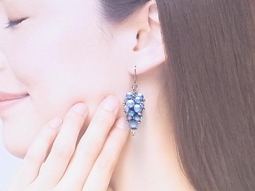 ぶどう の様な スワロ パール ピアス&イヤリング(163130 ライトブルー)~揺れる~
