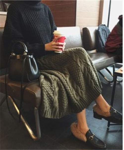 ニット セーター ハイネック リブニット 厚手 プルオーバー トップス タートルネック 長袖