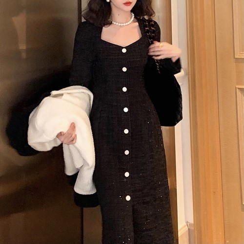 front button tweed dress